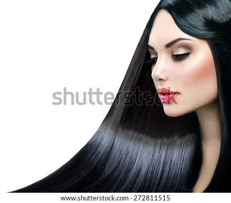 Beautiful model girl with healthy long straight shiny hair isolated on white background. Hair. Healthy Long Black Hair. Beauty Brunette Woman. Gorgeous Hair, Dyed hair - stock photo