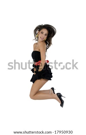 beautiful model in air on isolated studio picture