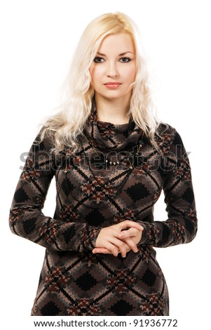 Beautiful model in brown knitted dress, white background