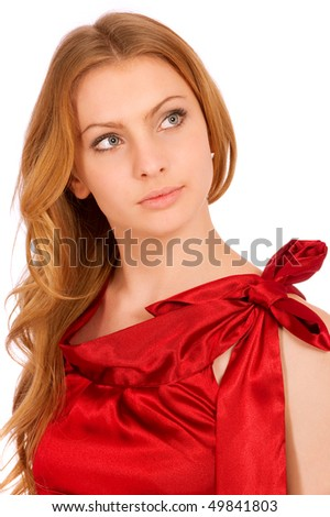 Beautiful model in red dress, isolated on white background.