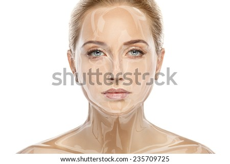 Beautiful model lady with natural make-up studio beauty shot on white background, perfect skin - stock photo