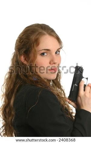 Beautiful model portraying female officer - stock photo