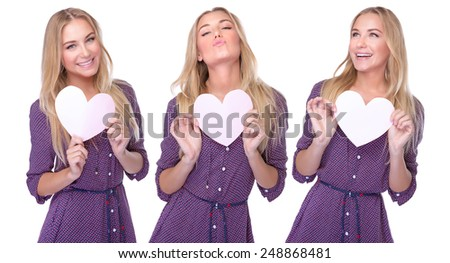 Beautiful model poses collage, joyful blond girl with paper heart in hands posing on white background, happy Valentine day - stock photo