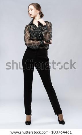Beautiful model studio photo, isolated on white background - stock photo