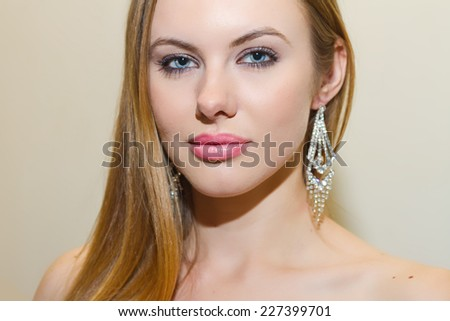 Beautiful Model With Long Flowing Hair - stock photo