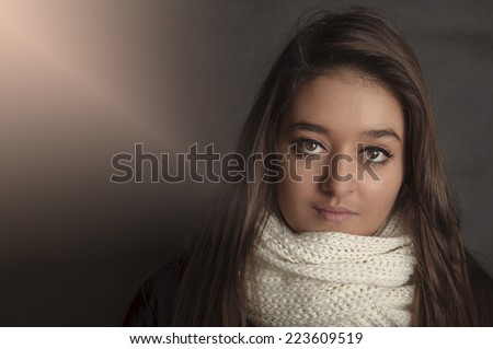 Beautiful model with luxury make-up - stock photo