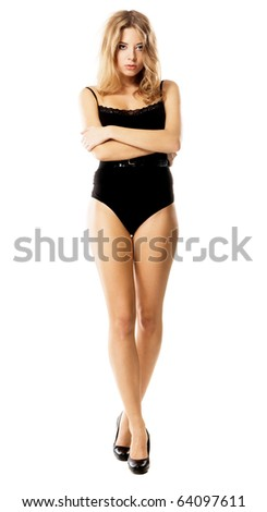 Beautiful model with perfect figure on white background - stock photo