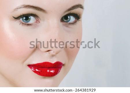Beautiful Model With Strawberry Lips - stock photo