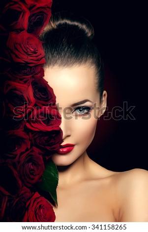 Beautiful model woman rose flower in hair beauty salon makeup  - stock photo