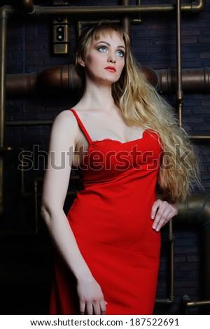 Beautiful model XL in red dress on background of pipes