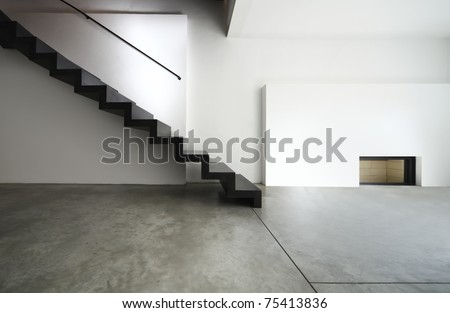 beautiful modern apartment, black staircase - stock photo