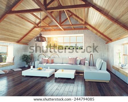 beautiful modern attic interior. 3d design concept.  - stock photo