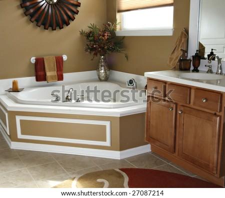 Beautiful modern bathroom - stock photo