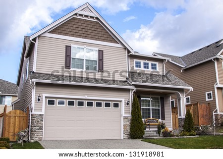 Beautiful modern design house with blue sky - stock photo