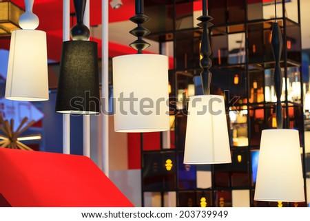 Beautiful modern design of rattan ceiling lamps - stock photo
