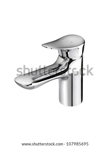 Beautiful modern designed of chrome faucet for hot and cold water - stock photo