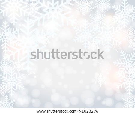 Beautiful modern, glittering bokeh winter background illustration with snow - stock photo