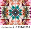 Beautiful modern high resolution abstract fractal background with a detailed flower pattern and detailed crystal shaped geometric decoration, all in dark vivid glowing blue,orange,pink,red - stock photo