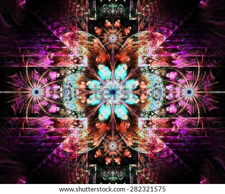 Beautiful modern high resolution abstract fractal background with a detailed flower pattern and detailed crystal shaped geometric decoration, all in bright pink,blue,orange,teal - stock photo