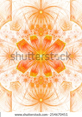Beautiful modern high resolution abstract fractal background with a detailed flower pattern with crystal shaped geometric leaves in bright pastel red, yellow, orange colors and against white color - stock photo