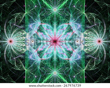 Beautiful modern high resolution abstract fractal background with a detailed flower pattern with crystal shaped twisted geometric leaves, all in bright vivid glowing green,blue,pink - stock photo