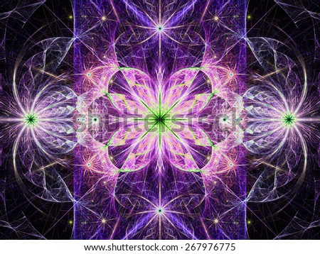 Beautiful modern high resolution abstract fractal background with a detailed flower pattern with crystal shaped twisted geometric leaves, all in bright vivid glowing pink,purple,green - stock photo
