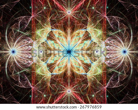 Beautiful modern high resolution abstract fractal background with a detailed flower pattern with crystal shaped twisted geometric leaves, all in bright vivid glowing red,yellow,blue - stock photo