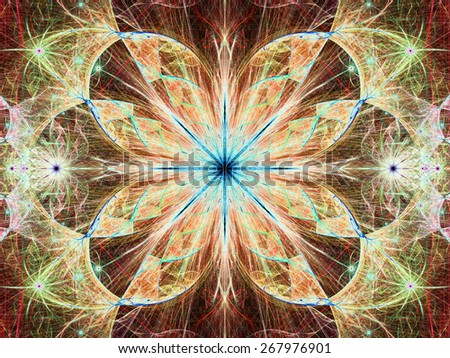 Beautiful modern high resolution abstract fractal background with a detailed large central flower with crystal shaped twisted geometric leaves, all in bright vivid glowing yellow,red,blue - stock photo