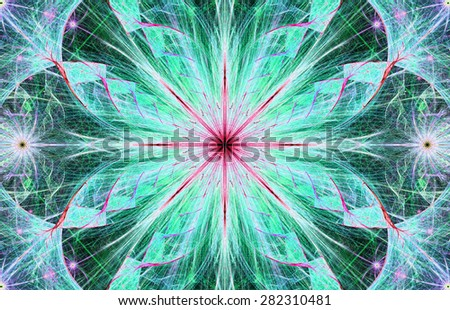Beautiful modern high resolution abstract fractal background with a detailed large central flower with crystal shaped twisted geometric leaves, all in bright vivid glowing cyan,blue,green,pink - stock photo