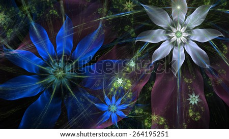 Beautiful modern high resolution flower background with a detailed flower pattern with plastic natural looking 3D leaves, all in high resolution and in blue,pink,green,yellow,silver - stock photo