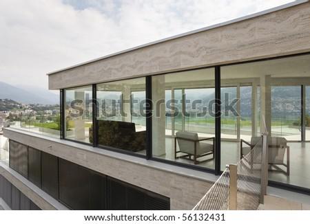 beautiful  modern house - stock photo