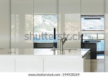 beautiful modern house, domestic kitchen view - stock photo