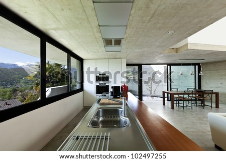 beautiful modern house in cement, interior, open space - stock photo