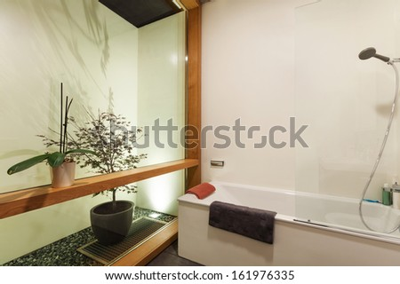 beautiful modern house in cement, interiors, bathroom - stock photo