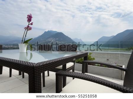 beautiful modern house, outdoors - stock photo