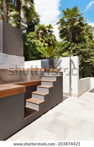 beautiful modern house, view from the terrace, pool