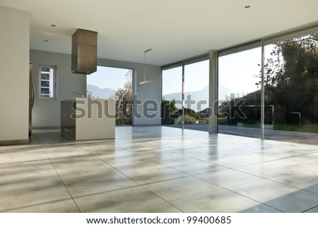 beautiful modern house, view of kitchen - stock photo