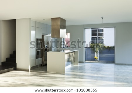 beautiful modern house, view of the kitchen - stock photo