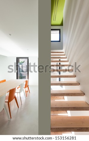 Beautiful modern house, view of the stairs - stock photo