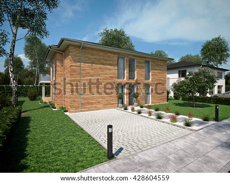 beautiful modern house with a garden. 3d rendering