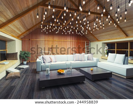 beautiful modern interior loft in the evening. 3d concept design. - stock photo
