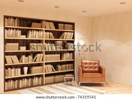 beautiful modern interior - rendering - stock photo