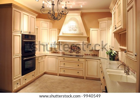 Beautiful modern kitchen with light colored cabinets and appliances - stock photo