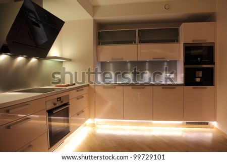 Beautiful modern nordic kitchen with modern lighting - stock photo
