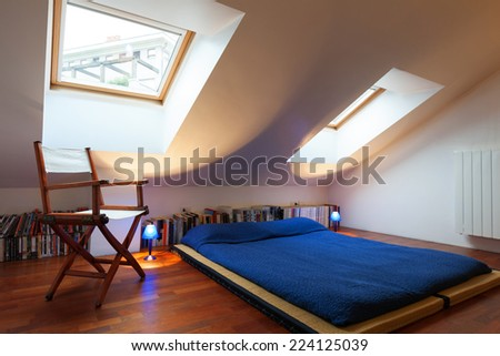 Beautiful modern penthouse, bedroom view - stock photo