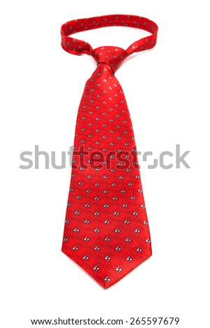 beautiful modern red tie on a white background - stock photo