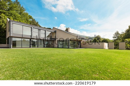 beautiful modern villa with garden, external