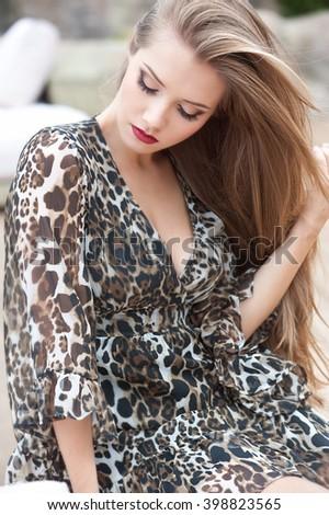 Beautiful modern woman with long hair.  - stock photo