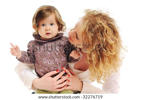 beautiful mom and baby play together isolated on white - stock photo