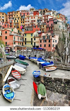 beautiful Monarola - colorful fishing village, Cinque terre - stock photo